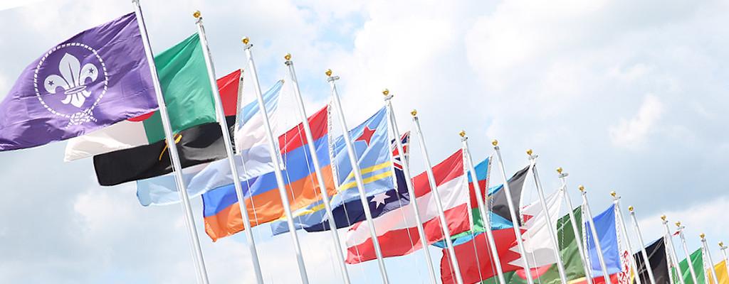 世界スカウト旗と各国の国旗